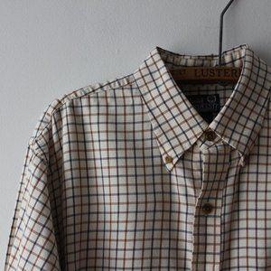 Beige Plaid Button Down Shirt Large